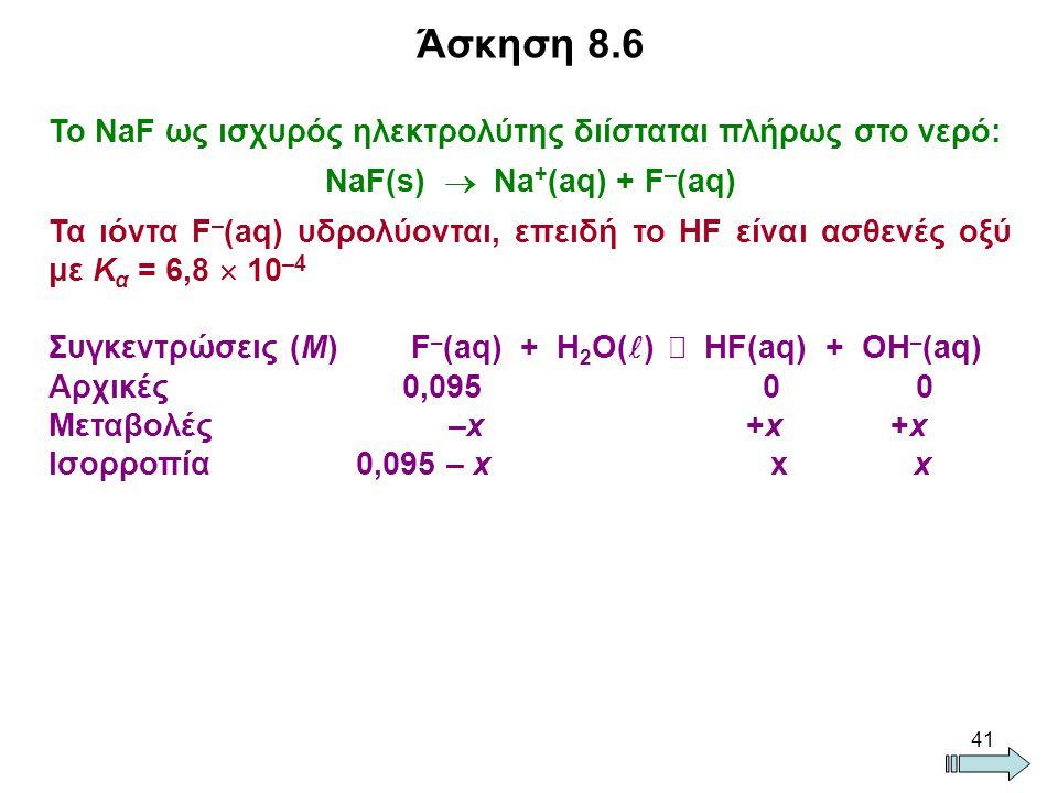 NaF(s)  Na+(aq) + F–(aq)