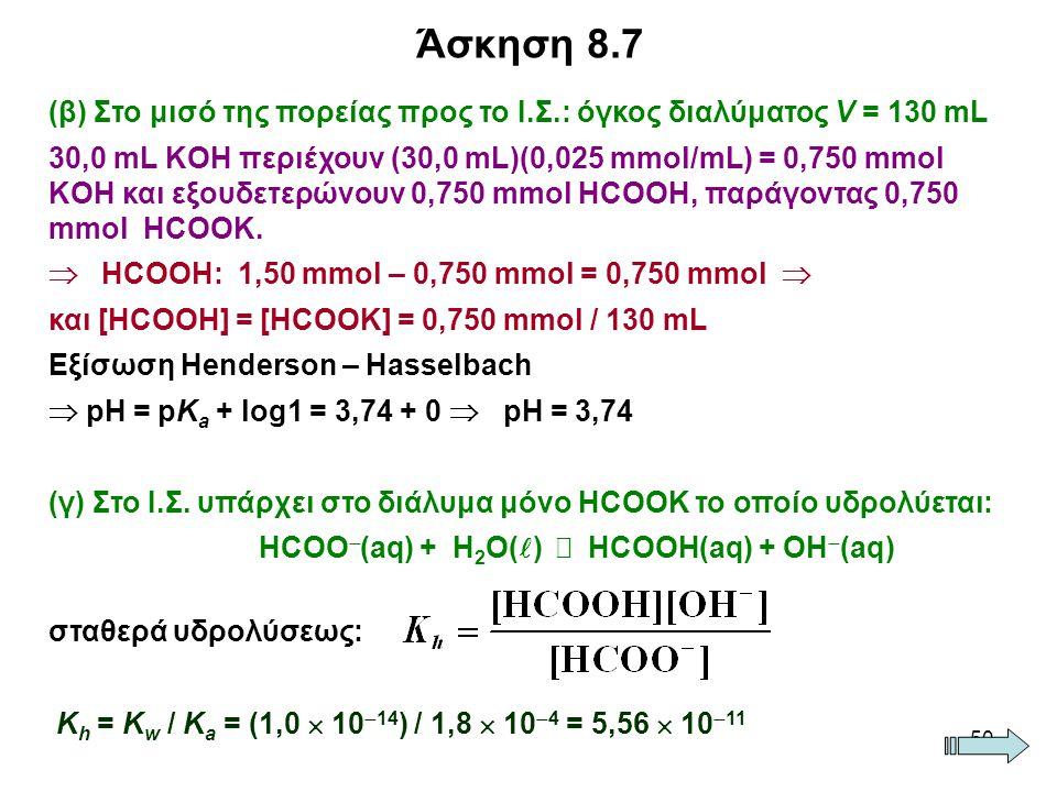 Άσκηση 8.7 (β) Στο μισό της πορείας προς το Ι.Σ.: όγκος διαλύματος V = 130 mL.