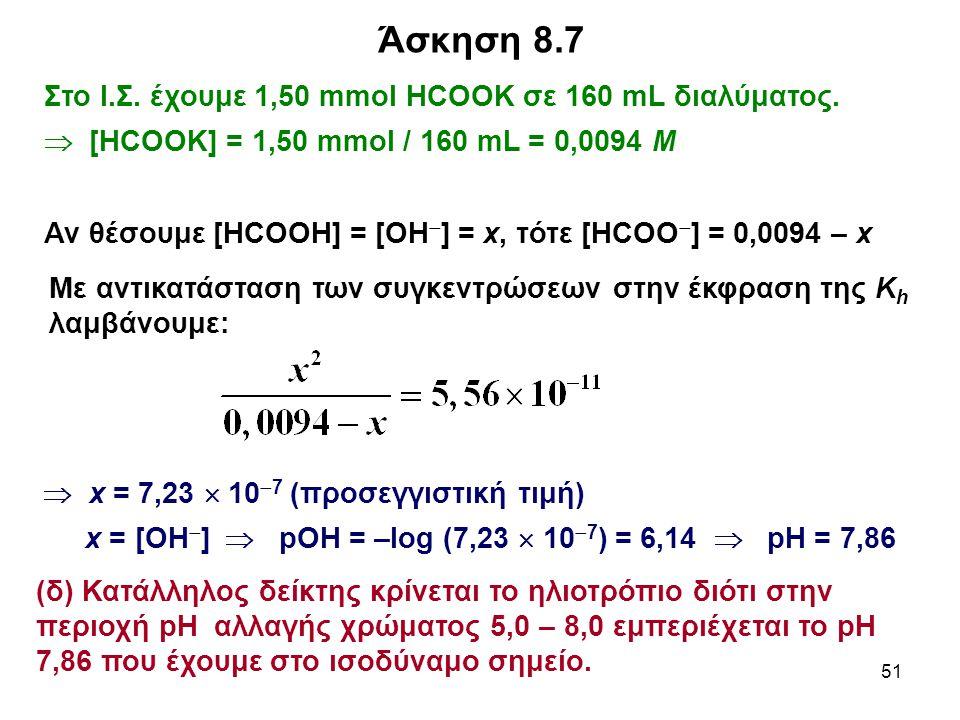 Άσκηση 8.7 Στο Ι.Σ. έχουμε 1,50 mmol HCOOK σε 160 mL διαλύματος.