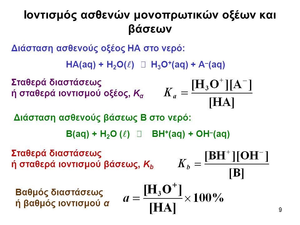 Ιοντισμός ασθενών μονοπρωτικών οξέων και βάσεων