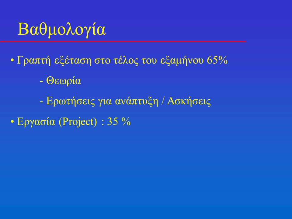 Βαθμολογία Γραπτή εξέταση στο τέλος του εξαμήνου 65% - Θεωρία