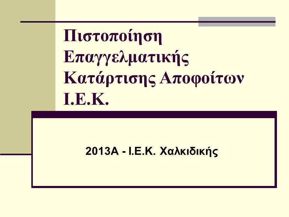 Πιστοποίηση Επαγγελματικής Κατάρτισης Αποφοίτων Ι.Ε.Κ.
