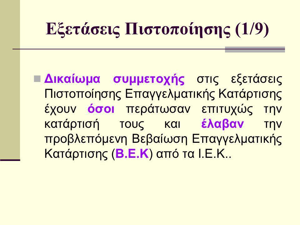 Εξετάσεις Πιστοποίησης (1/9)