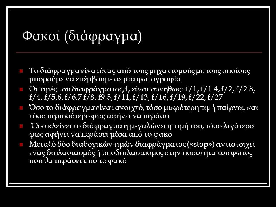 Φακοί (διάφραγμα) Το διάφραγμα είναι ένας από τους μηχανισμούς με τους οποίους μπορούμε να επέμβουμε σε μια φωτογραφία.