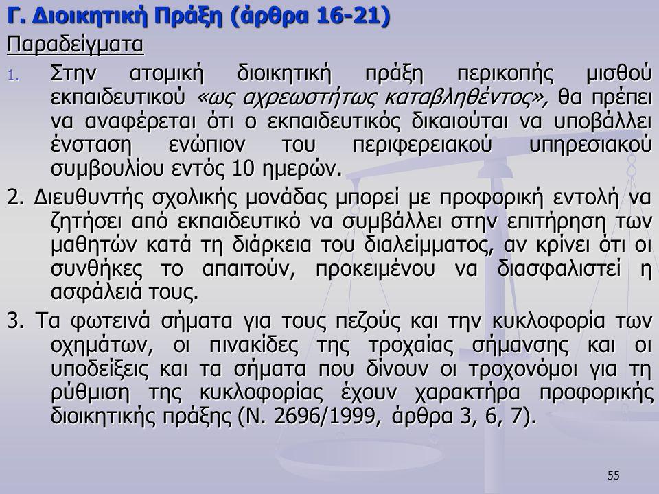 Γ. Διοικητική Πράξη (άρθρα 16-21)