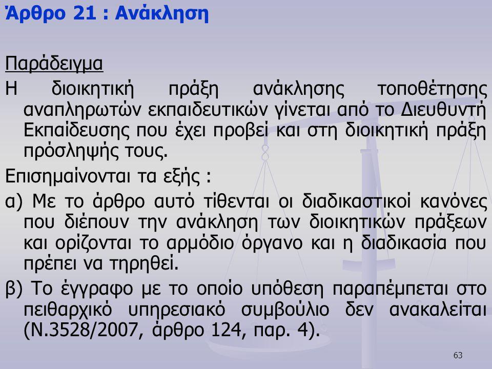 Άρθρο 21 : Ανάκληση Παράδειγμα.