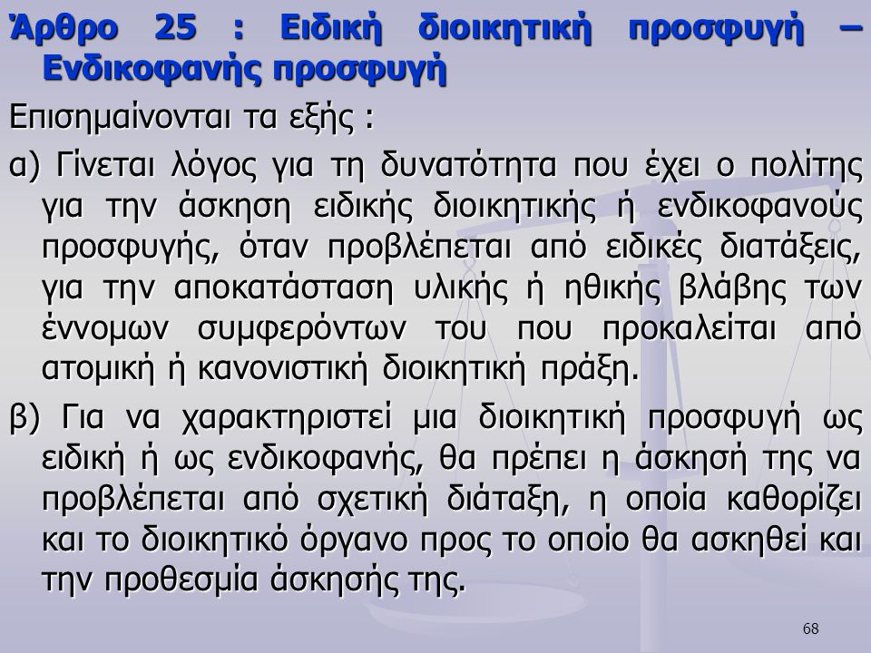 Άρθρο 25 : Ειδική διοικητική προσφυγή – Ενδικοφανής προσφυγή