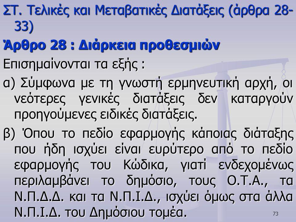 ΣΤ. Τελικές και Μεταβατικές Διατάξεις (άρθρα 28-33)
