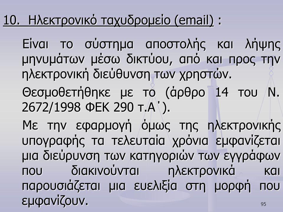 10. Ηλεκτρονικό ταχυδρομείο (email) :