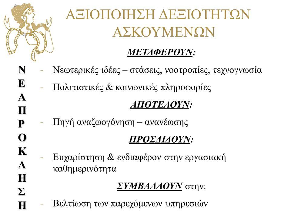 ΑΞΙΟΠΟΙΗΣΗ ΔΕΞΙΟΤΗΤΩΝ ΑΣΚΟΥΜΕΝΩΝ
