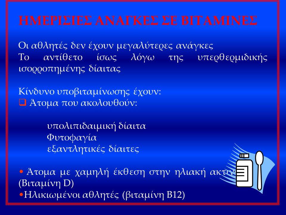ΗΜΕΡΙΣΙΕΣ ΑΝΑΓΚΕΣ ΣΕ ΒΙΤΑΜΙΝΕΣ