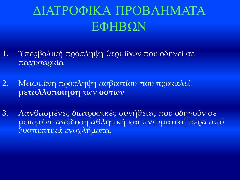 ΔΙΑΤΡΟΦΙΚΑ ΠΡΟΒΛΗΜΑΤΑ ΕΦΗΒΩΝ