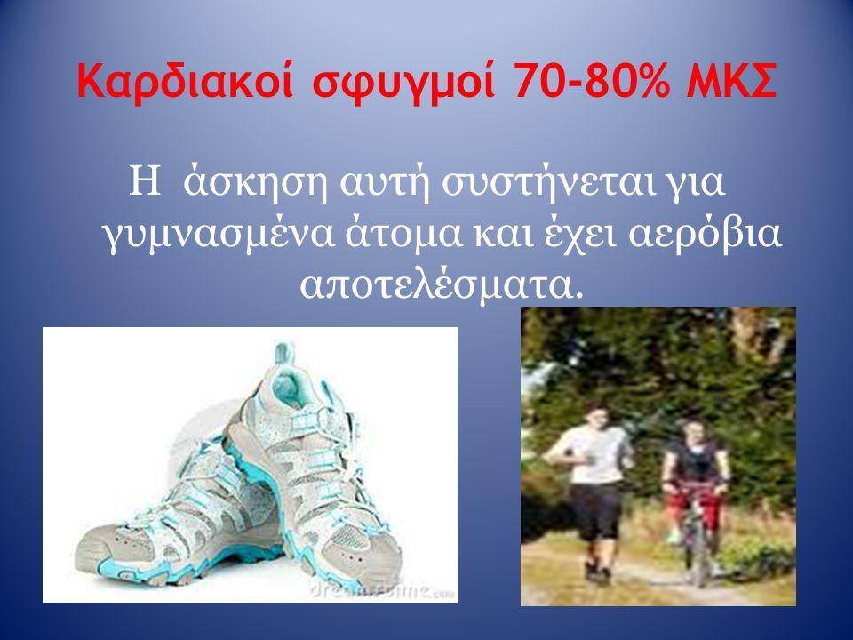 Καρδιακοί σφυγμοί 70-80% ΜΚΣ