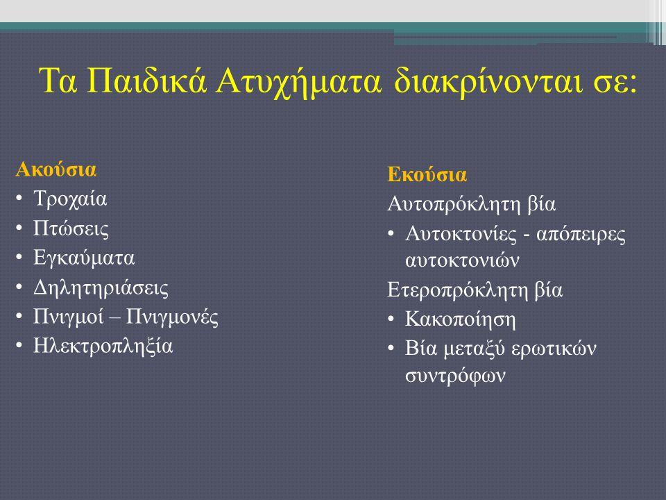 Τα Παιδικά Ατυχήματα διακρίνονται σε:
