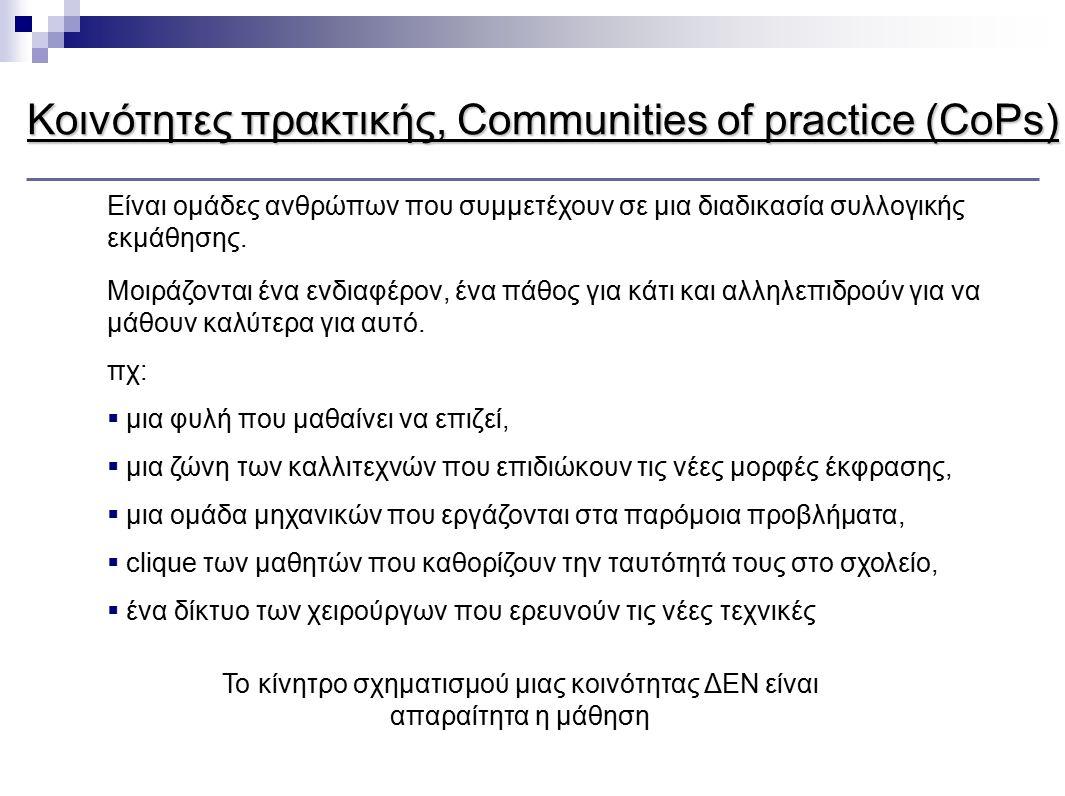 Το κίνητρο σχηματισμού μιας κοινότητας ΔΕΝ είναι απαραίτητα η μάθηση