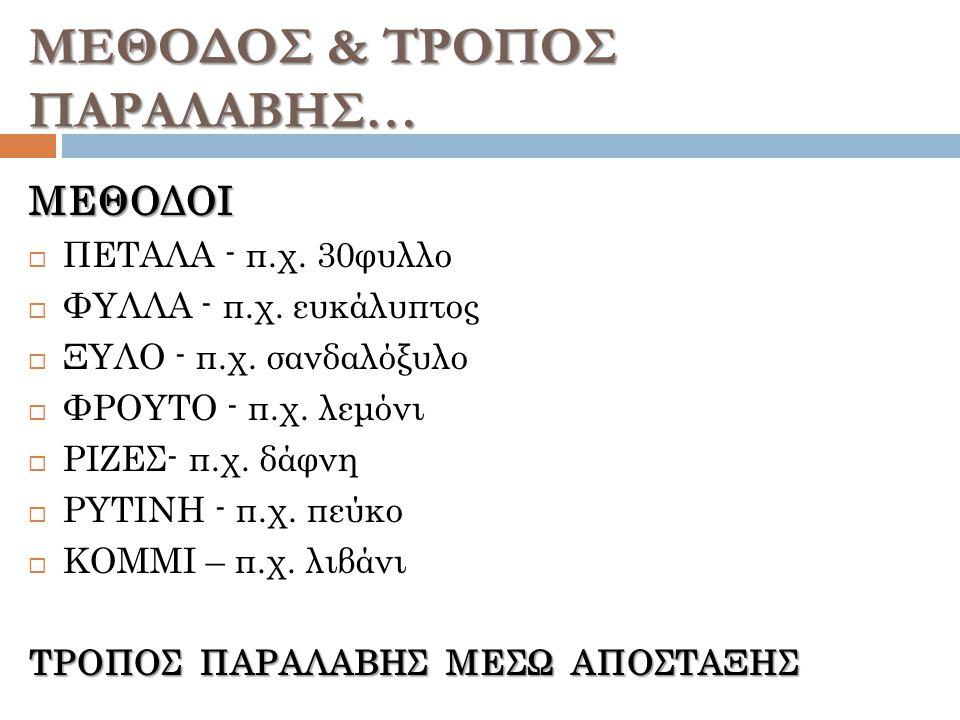 ΜΕΘΟΔΟΣ & ΤΡΟΠΟΣ ΠΑΡΑΛΑΒΗΣ…