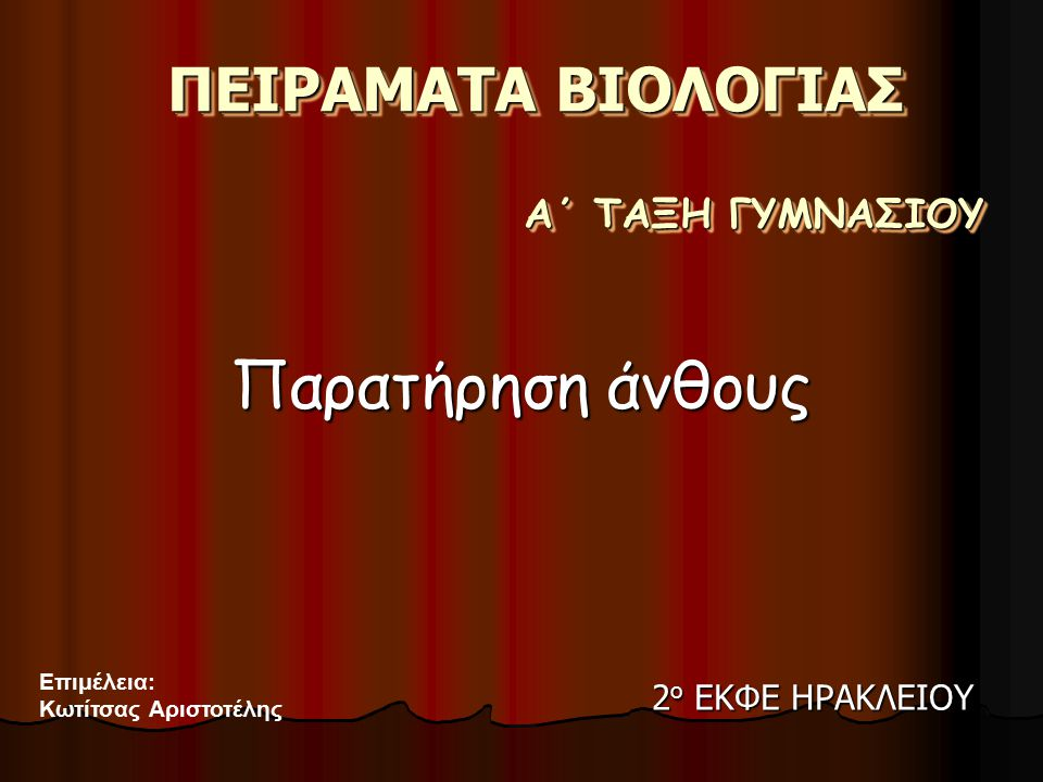 Παρατήρηση άνθους ΠΕΙΡΑΜΑΤΑ ΒΙΟΛΟΓΙΑΣ Α΄ ΤΑΞΗ ΓΥΜΝΑΣΙΟΥ