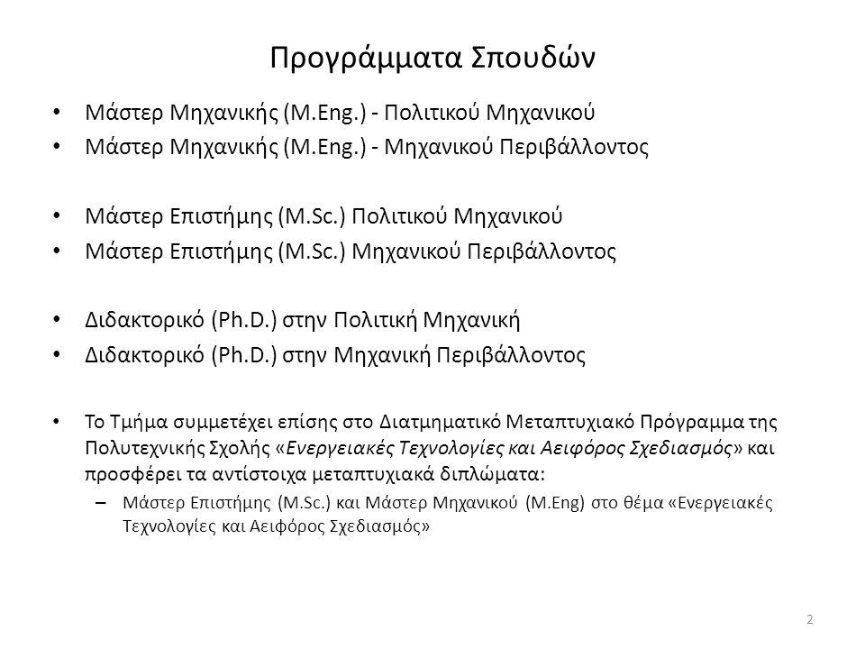 Προγράμματα Σπουδών Μάστερ Μηχανικής (M.Eng.) - Πολιτικού Μηχανικού