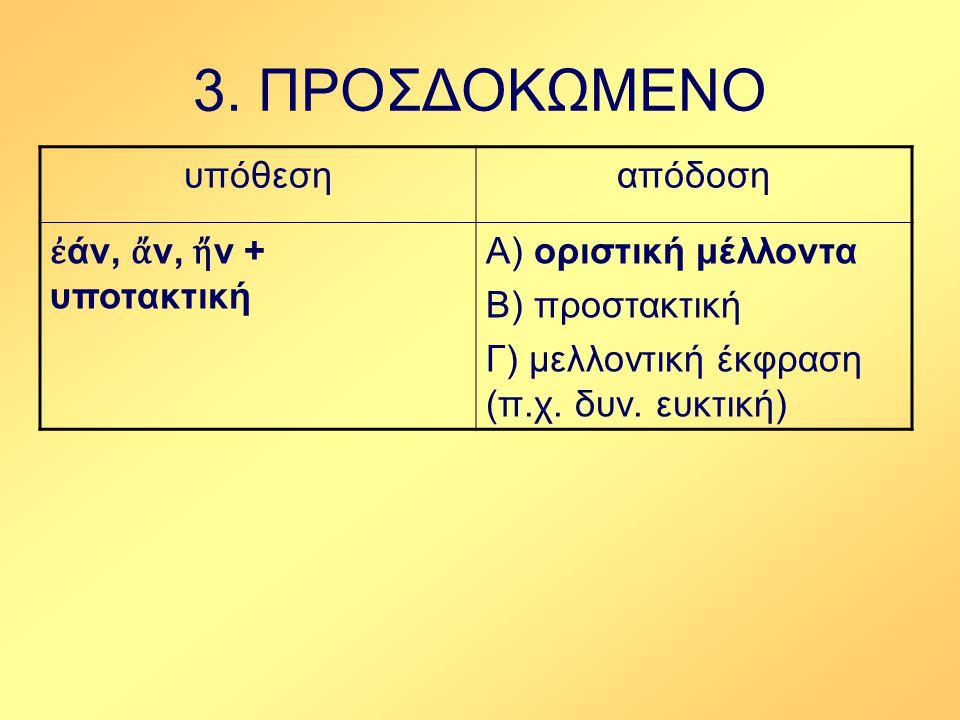 3. ΠΡΟΣΔΟΚΩΜΕΝΟ υπόθεση απόδοση ἐάν, ἄν, ἤν + υποτακτική