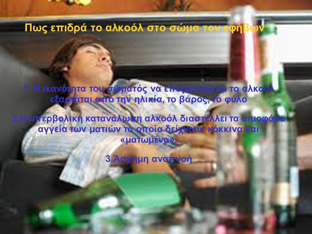 Πως επιδρά το αλκοόλ στο σώμα τον εφήβων