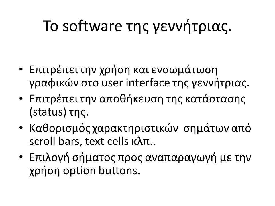 Το software της γεννήτριας.
