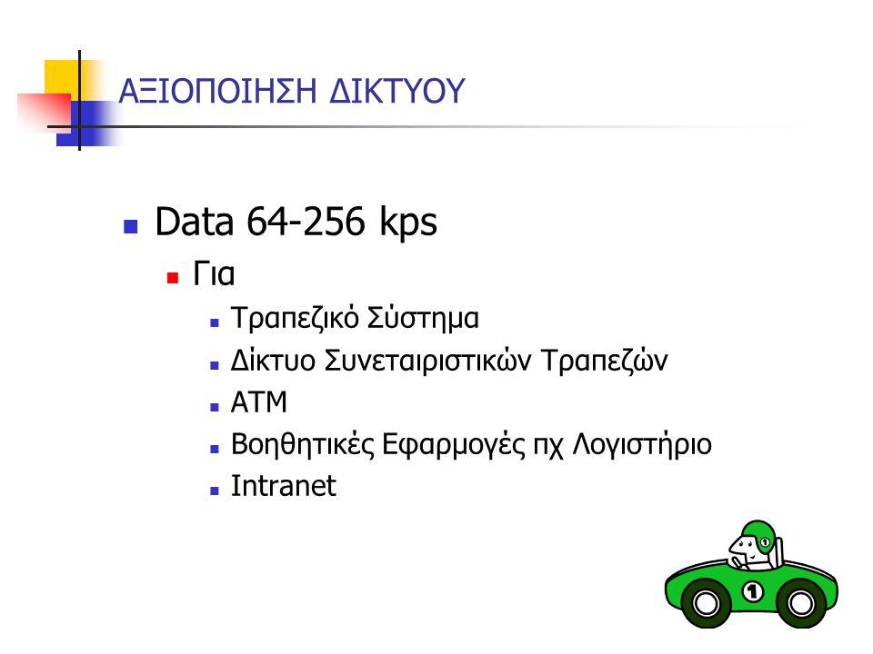 Data 64-256 kps ΑΞΙΟΠΟΙΗΣΗ ΔΙΚΤΥΟΥ Για Τραπεζικό Σύστημα