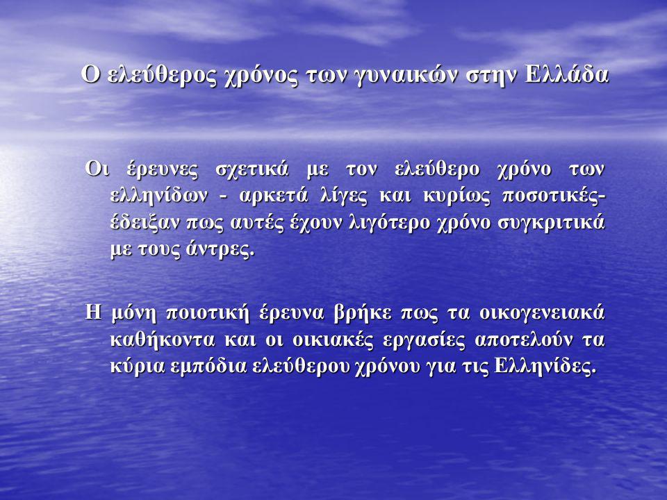 Ο ελεύθερος χρόνος των γυναικών στην Ελλάδα
