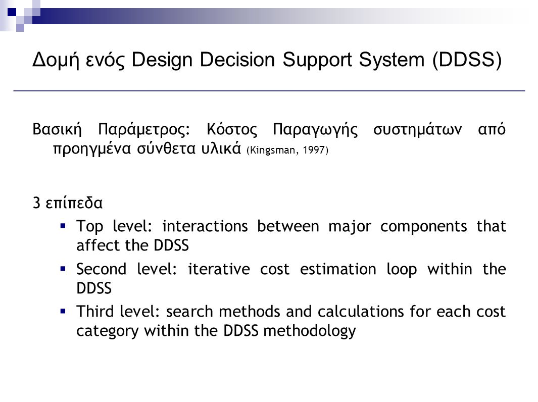 Δομή ενός Design Decision Support System (DDSS)