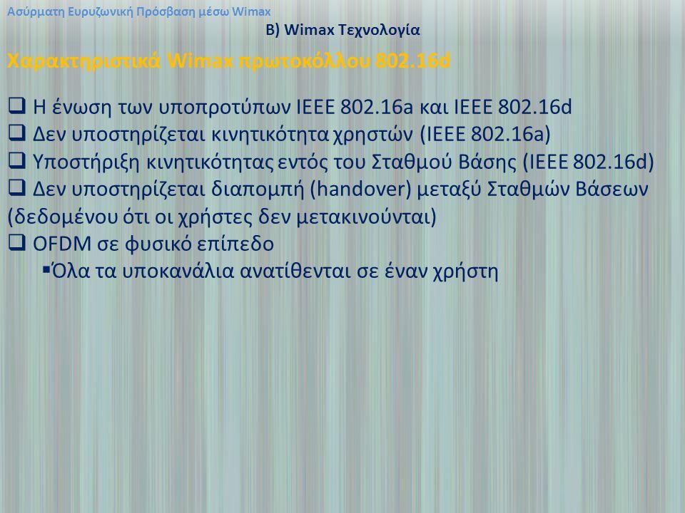 Χαρακτηριστικά Wimax πρωτοκόλλου 802.16d