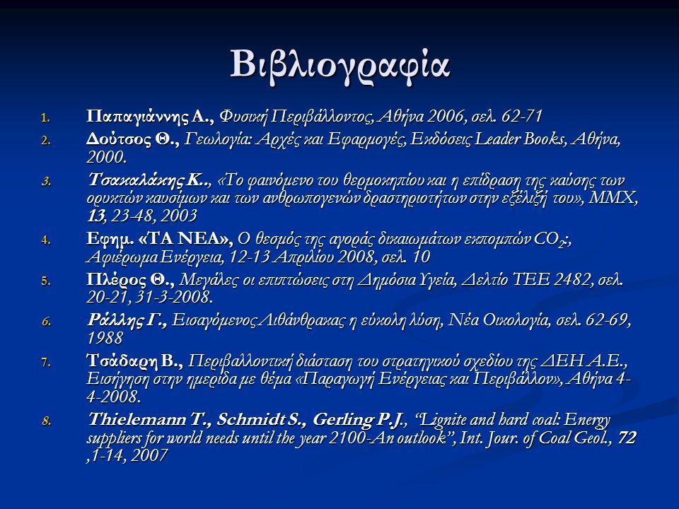 Βιβλιογραφία Παπαγιάννης Α., Φυσική Περιβάλλοντος, Αθήνα 2006, σελ. 62-71.