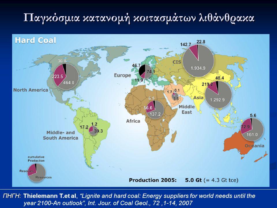 Παγκόσμια κατανομή κοιτασμάτων λιθάνθρακα