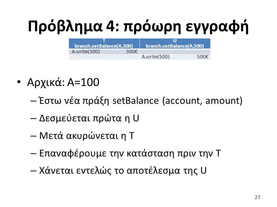Πρόβλημα 4: πρόωρη εγγραφή