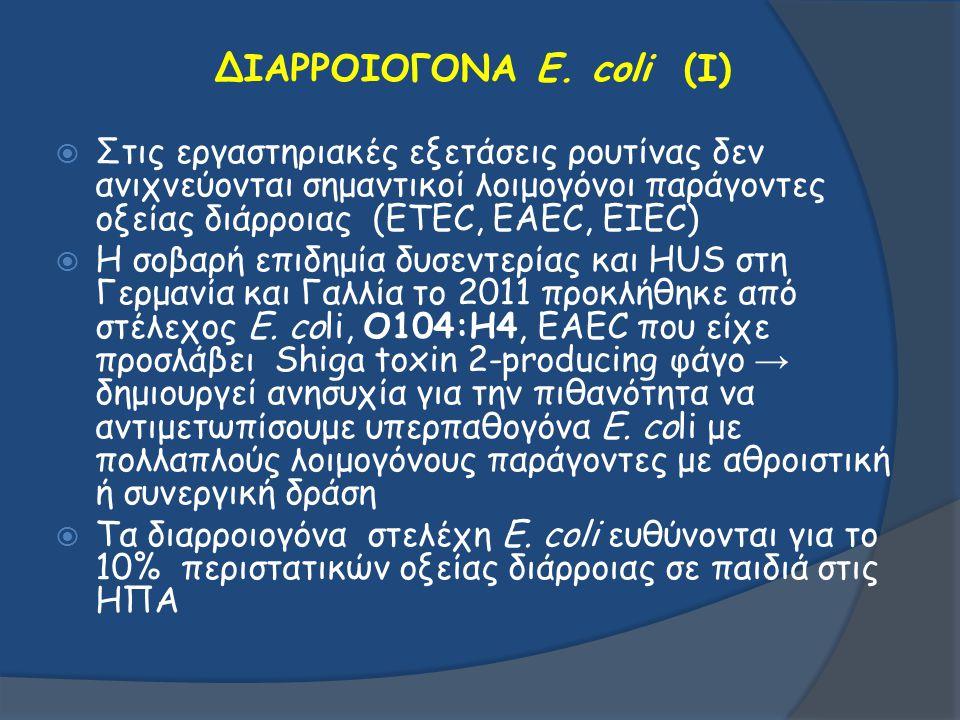 ΔΙΑΡΡΟΙΟΓΟΝΑ E. coli (I)