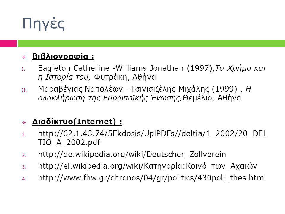 Πηγές Βιβλιογραφία : Eagleton Catherine -Williams Jonathan (1997),Το Χρήμα και η Ιστορία του, Φυτράκη, Αθήνα.