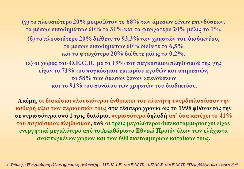 (γ) το πλουσιότερο 20% μοιραζόταν το 68% των άμεσων ξένων επενδύσεων, το μέσων εισοδημάτων 60% το 31% και το φτωχότερο 20% μόλις το 1%,
