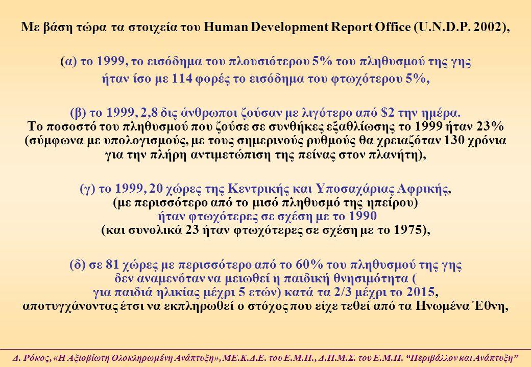 (α) το 1999, το εισόδημα του πλουσιότερου 5% του πληθυσμού της γης