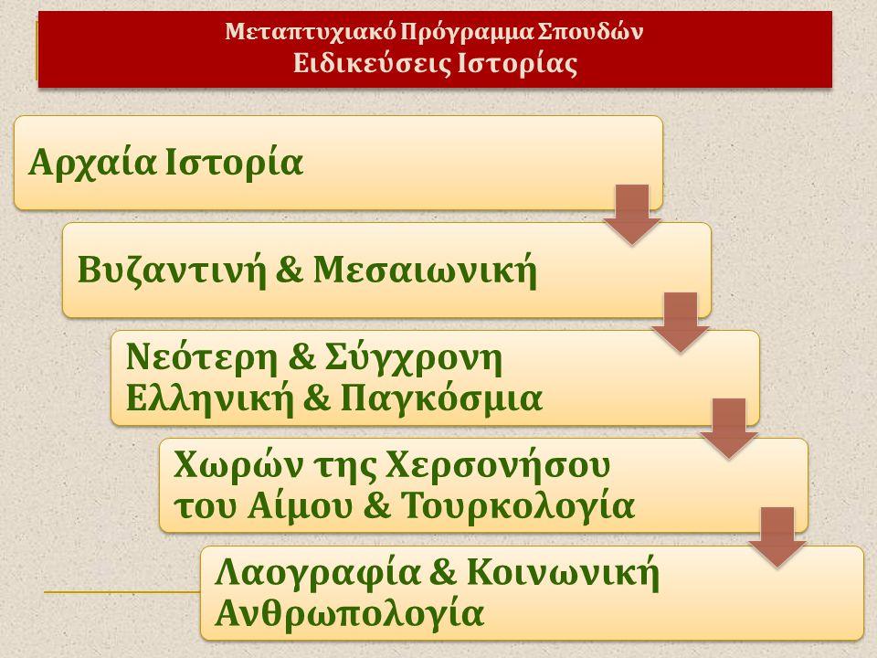 Μεταπτυχιακό Πρόγραμμα Σπουδών Ειδικεύσεις Ιστορίας