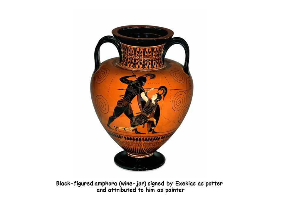 Black-figured amphora (wine-jar) signed by Exekias as potter