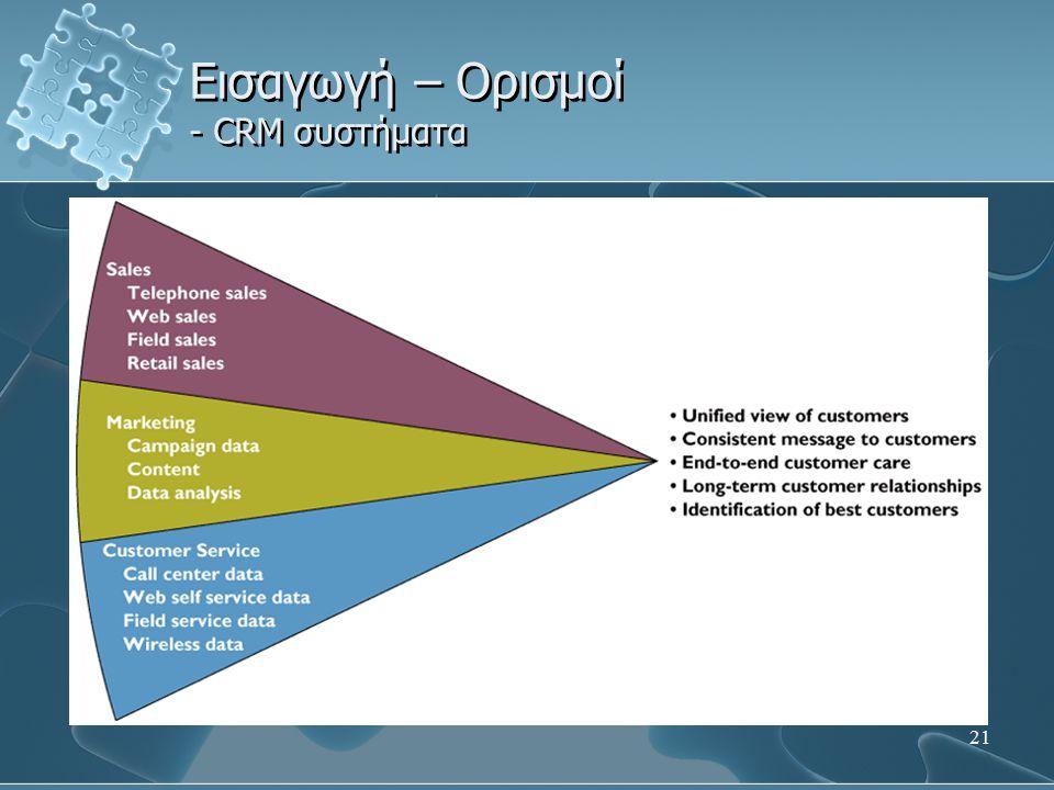 Εισαγωγή – Ορισμοί - CRM συστήματα