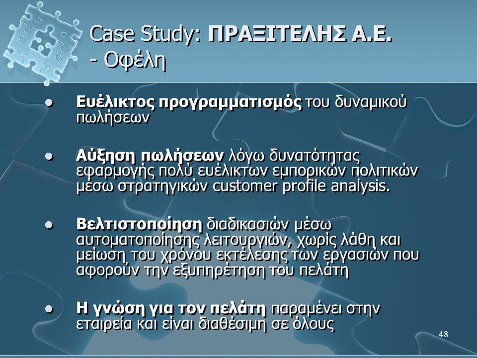 Case Study: ΠΡΑΞΙΤΕΛΗΣ Α.Ε. - Οφέλη