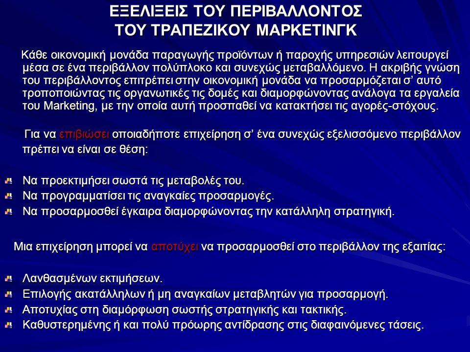 ΕΞΕΛΙΞΕΙΣ ΤΟΥ ΠΕΡΙΒΑΛΛΟΝΤΟΣ ΤΟΥ ΤΡΑΠΕΖΙΚΟΥ ΜΑΡΚΕΤΙΝΓΚ