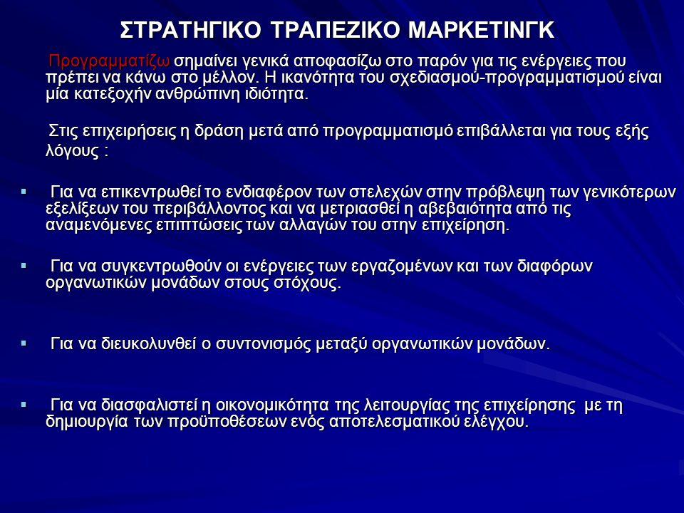 ΣΤΡΑΤΗΓΙΚΟ ΤΡΑΠΕΖΙΚΟ ΜΑΡΚΕΤΙΝΓΚ