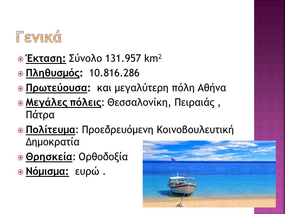 Γενικά Έκταση: Σύνολο 131.957 km2 Πληθυσμός: 10.816.286