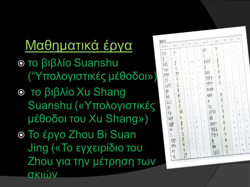 Μαθηματικά έργα το βιβλίο Suanshu ( Υπολογιστικές μέθοδοι»)