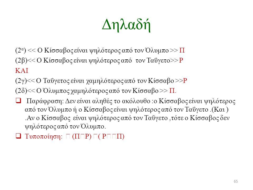 Δηλαδή (2α) << Ο Κίσσαβος είναι ψηλότερος από τον Όλυμπο >> Π. (2β)<< Ο Κίσσαβος είναι ψηλότερος από τον Ταΰγετο>> Ρ.