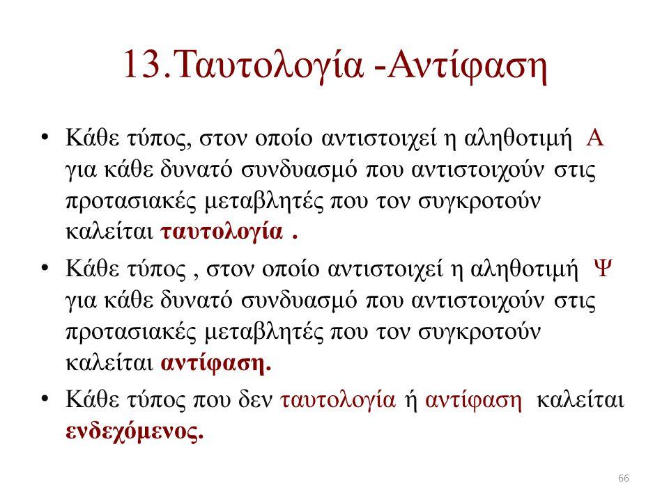 13.Ταυτολογία -Αντίφαση