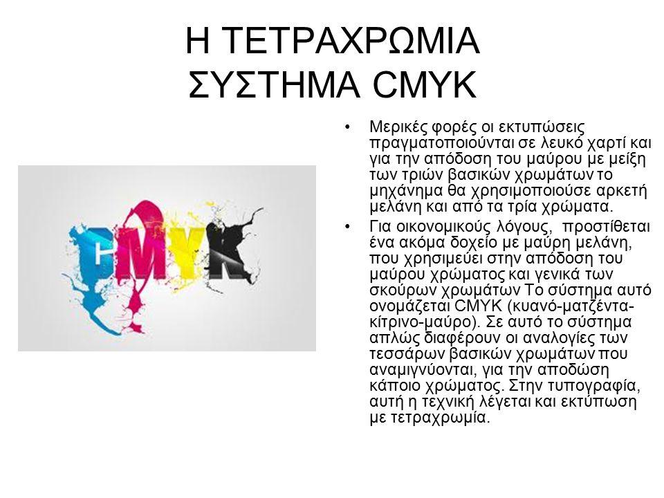 Η ΤΕΤΡΑΧΡΩΜΙΑ ΣΥΣΤΗΜΑ CMYK