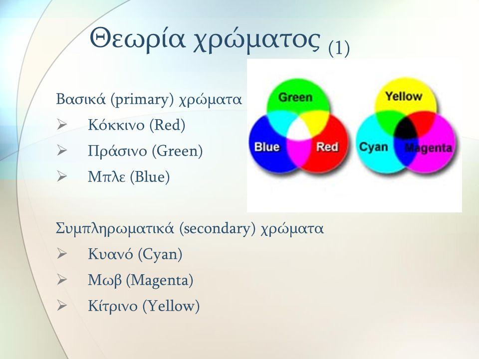 Θεωρία χρώματος (1) Βασικά (primary) χρώματα Κόκκινο (Red)