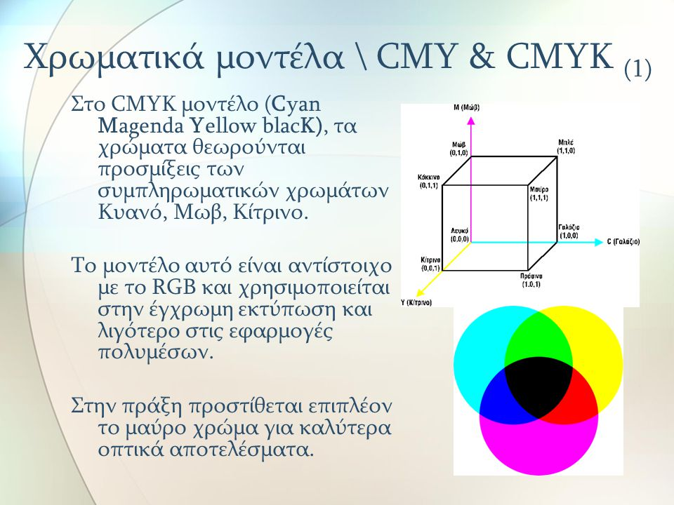 Χρωματικά μοντέλα \ CMY & CMYK (1)