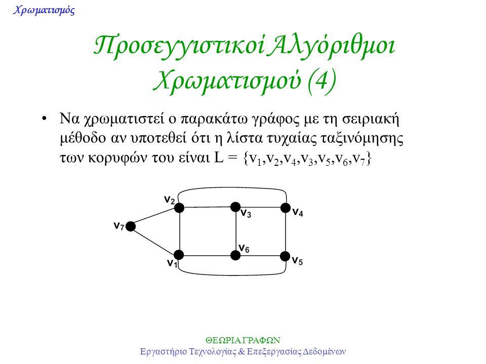 Προσεγγιστικοί Αλγόριθμοι Χρωματισμού (4)